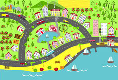 landscape urban Σχέδιο χαρτών για τα χαλιά, τα βιβλία, και την παιδαριώδη ανάπτυξη Στοκ φωτογραφία με δικαίωμα ελεύθερης χρήσης