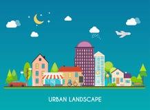 landscape urban Σύγχρονα κτήρια και προάστιο με τα ιδιωτικά σπίτια Στοκ φωτογραφία με δικαίωμα ελεύθερης χρήσης