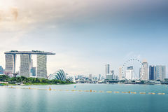 Landscape and urban city of Singapore., Business downtown. Royalty Free Stock Image