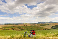 Landscape in Val d'Orcia (Tuscany) with bicycle Royalty Free Stock Photography