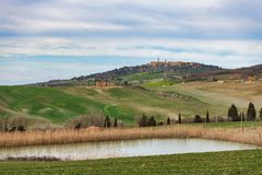 Landscape of Val d`Orcia in Tuscany Italy stock photography