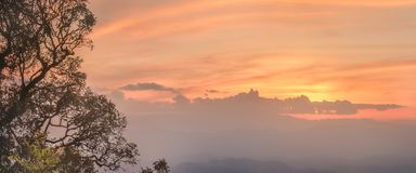 Landscape of the valley and mountain of Chiang Mai. Landscape of the valley on top of Inthanon mountain Doi Ang Khang, Chiang Mai, Thailand royalty free stock photography