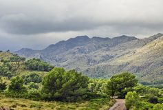 Landscape with valley and mountains, Mallorca royalty free stock photo