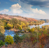 Landscape - Valley of River in Autumn, beautiful sunny day Stock Image