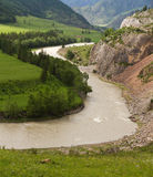 Altai: valley river mountains Royalty Free Stock Photos