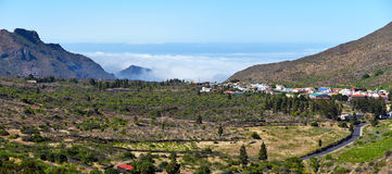 Landscape of Valley via Puerto Santiago in western Tenerife Isla. Panorama of Valley with Tanaimo village at right in Puerto Santiago direction of western Royalty Free Stock Photography