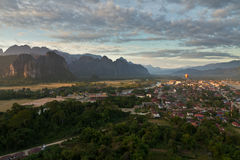 Landscape of Vang Vieng, Laos - Hot air baloon in the sky Stock Photography