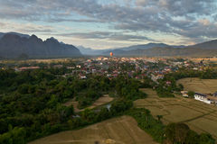 Landscape of Vang Vieng, Laos - Hot air baloon in the sky Royalty Free Stock Photo