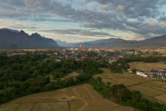 Landscape of Vang Vieng, Laos - Hot air baloon in the sky Stock Images