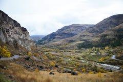 Landscape with Vardzia cave city monastery Stock Photos