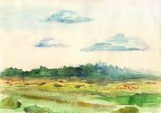 landscape vattenfärgen Royaltyfri Bild