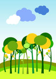 Landscape vector forest illustration background silhouette. Tree royalty free illustration