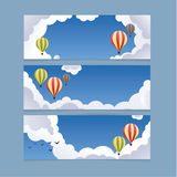 Landscape vector illustration. Clean blue sky with baloons. Stock Photo