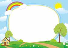 Beautiful Landscape Vector Frame Background with, Rainbow, Green Meadow, Clouds, Tree and Home. Landscape vector illustration with clouds, house, tree, flower vector illustration