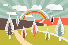 Landscape Vector Illustration with Ears of Wheat Field Stock Photography