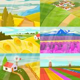 Landscape vector landscaping countryside of meadows fields and lands with natural landscaped sunny view of country set. Illustration on white background royalty free illustration