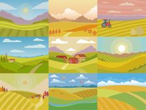 Landscape vector meadow field landscaping countryside of nature with horizon sunlight country landscaped view set. Illustration on white background royalty free illustration