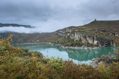 Landscape veiw with hills, river and clouds around royalty free stock photos