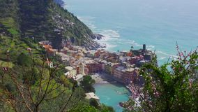 Landscape of Vernazza village from the top of the hill in Cinque Terre, Italy