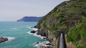 Landscape from Vernazza village train passing by Cinque Terre, Italy