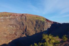 Panoramic view at the top of the crater of the volcano Vesuvius in Campania, Naples, Italy stock photos