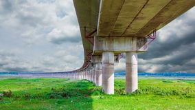 Landscape viaduct crossing bodies of water in the dry season in lopburi stock video