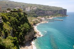 Landscape of Vico Equense. In Sorrento`s peninsula, Naples province, Italy royalty free stock images