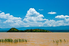Landscape of the Victoria lake in Kenya. With blue sky Royalty Free Stock Image