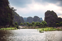 Landscape Vietnam. River view in the dim light of dusk at Ninhbi Royalty Free Stock Images
