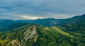 Landscape view. Green Panorama in France. Summer stock photo
