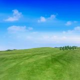 Landscape view. Green hills and blue sky at spring Stock Photos