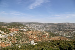 Landscape view from above with Ajloun fort, Jordan. Stock Images