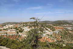 Landscape view from above with Ajloun fort, Jordan. Stock Photography
