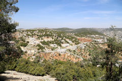 Landscape view from above with Ajloun fort, Jordan. Stock Image