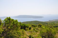 Landscape view in Alonissos island with an ocen Royalty Free Stock Photos