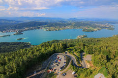 Landscape view of the Alpine lake, Woerthersee Royalty Free Stock Photography
