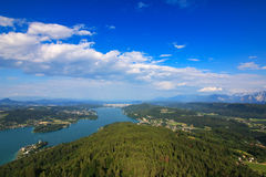 Landscape view of the Alpine lake, Woerthersee Royalty Free Stock Images