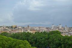Landscape view of the Altare della Patria in Rome Italy. Italian Stone Pine and Altare della Patria seen from the distance royalty free stock images