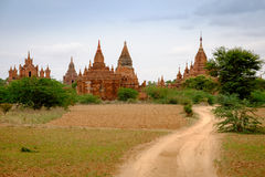 Landscape view of ancient temples in Old Bagan, Myanmar Royalty Free Stock Photography