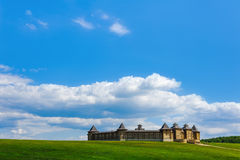 Landscape view with ancient wooden castle on sky backgrounds Royalty Free Stock Images