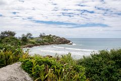 Landscape view of the Armacao Beach, in Florianopolis, Brazil. Florianopolis, Brazil. February, 2018.Landscape view of the Armacao Beach Praia da Armcao stock images