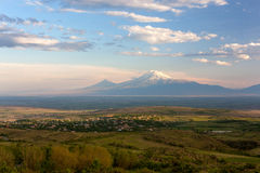 Landscape view of an Armenian village in the Ararat Valley with Royalty Free Stock Images