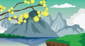 Landscape view in Asia. Landmark vector yellows flower on the tree and backgrounds mountain have shadow on the river. and front have green grass Stock Image