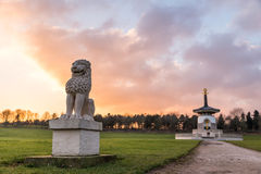 Landscape view Asian Monastery with Lion Statues.  royalty free stock photography