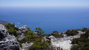 Landscape, view of the Atlantic  ocean from the mountain. Landscape, view of the  blue ocean from the  Table mountain, Cape Town Stock Images