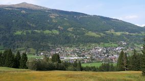 Landscape view of the Austrian city in the Alpine mountains stock footage