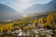 Landscape view of autumn in Hunza valley, Gilgit-Baltistan, Paki royalty free stock image