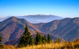 Landscape view of autumn mountain range, Slovakia Stock Photo