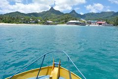 Avarua town as view from a boat Rarotonga Cook Islands Royalty Free Stock Photo
