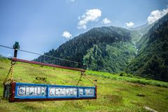 Landscape view of Ayder Plateau in Rize,Turkey. Gone,Travelled,Seen written on transportation vehicle.Ayder Valley lies between Rize and Artvin.A popular Royalty Free Stock Photo